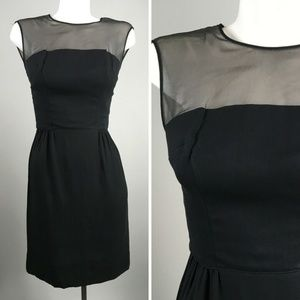 Vtg 60s Black Illusion Neckline Sleeveless Sheath